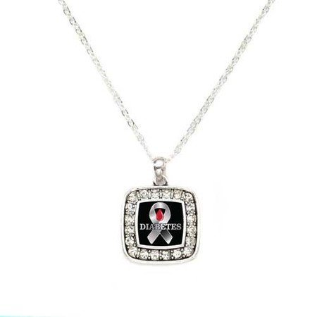 Primary image for Diabetes Awareness Classic Silver Plated Square Crystal Necklace [Jewelry]