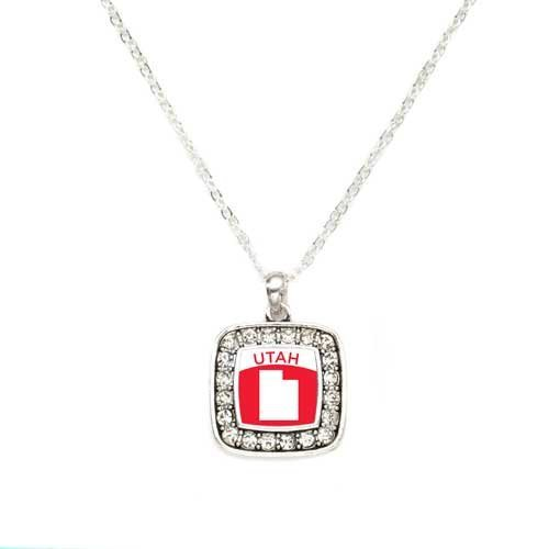 Primary image for Love Utah (UT) State Charm Classic Silver Plated Square Crystal Necklace