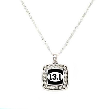 Primary image for 13.1 Half Marathon Runners Charm Classic Silver Plated Square Crystal Necklace
