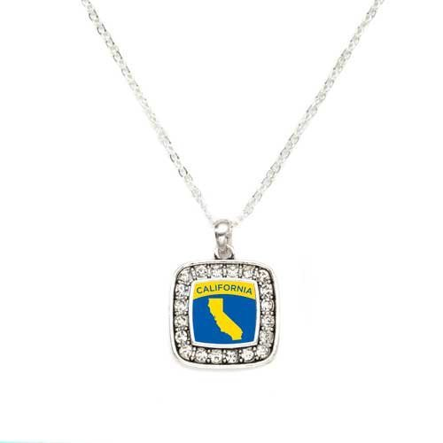 Primary image for Love California (CA) State Charm Classic Silver Plated Square Crystal Necklace