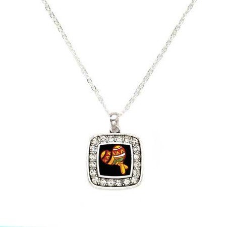 Primary image for Maracas Instrument Latin American Culture Charm Classic Silver Plated Square ...