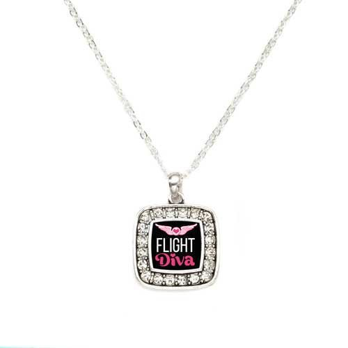 Primary image for Flight Diva Airline Charm Classic Silver Plated Square Crystal Necklace