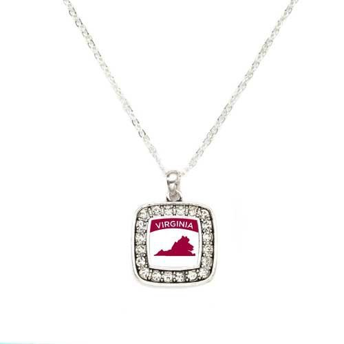 Primary image for Love Virginia (VA) State Charm Classic Silver Plated Square Crystal Necklace