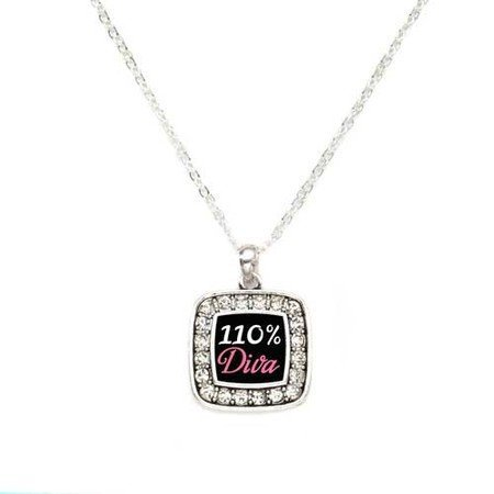 Primary image for 110% Diva Charm Classic Silver Plated Square Crystal Necklace [Jewelry]
