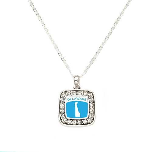 Primary image for Love Delaware (DE) State Charm Classic Silver Plated Square Crystal Necklace