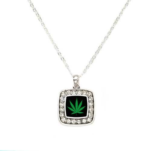 Primary image for Marijuana Weed Leaf Charm Classic Silver Plated Square Crystal Necklace