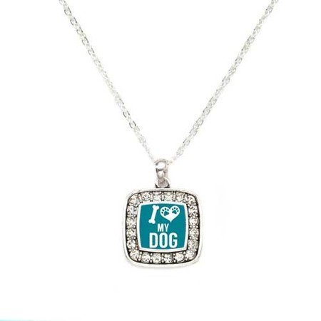 Primary image for I love My Dog Classic Silver Plated Square Crystal Necklace [Jewelry]