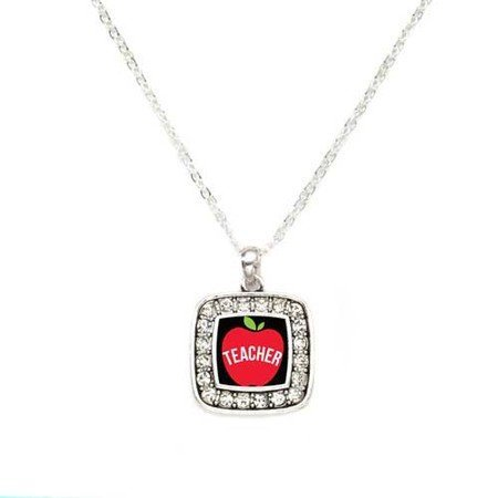 Primary image for Apples for Teacher Charm Classic Silver Plated Square Crystal Necklace [Jewelry]