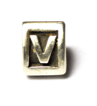 Sterling Silver Pandora V Letter Block Triangle Charm 10mm - $16.03