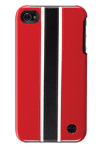Trexta Leather Racing Red White B Snap On Case iPhone 4 - $14.99