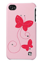 Trexta Real CRYSTAL Leather Snap On Hard Shell Case for iPhone 4 & 4S, Pink - $9.99