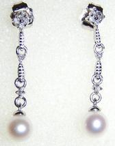 10K WHITE GOLD CULTURED FW PEARL & DIAMOND DANGLE EARRINGS, 1.48(TCW), 1.10GR - $95.00
