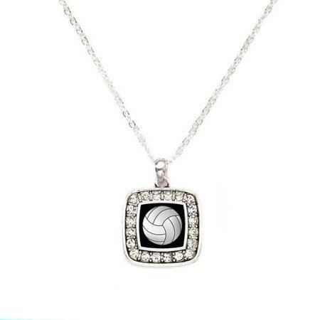 Primary image for Volleyball Sport Charm Classic Silver Plated Square Crystal Necklace [Jewelry]