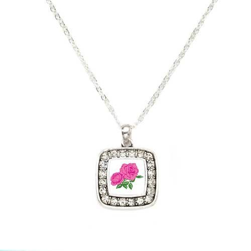 Primary image for Pink Rose Flower Charm Classic Silver Plated Square Crystal Necklace [Jewelry]
