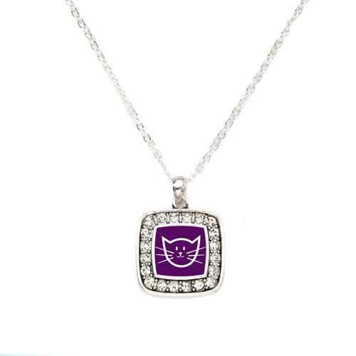 Primary image for Pretty Kitty Charm Classic Silver Plated Square Crystal Necklace [Jewelry]