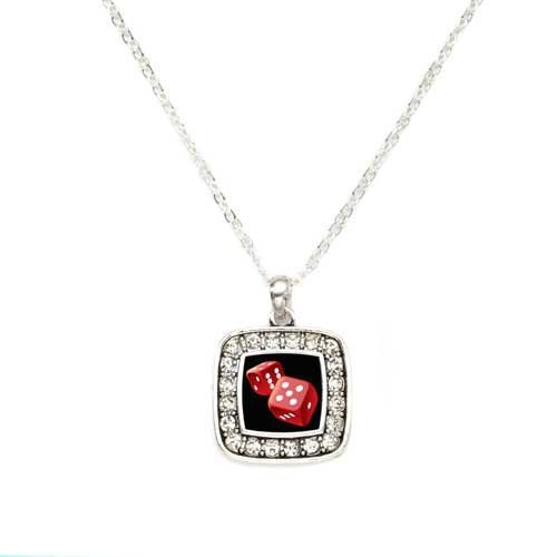 Primary image for Roll the Dice Charm Classic Silver Plated Square Crystal Necklace [Jewelry]