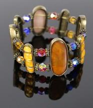 Vintage Rhinestone Beaded Oval Multi Colorful Stone Stretch Costume Brac... - $18.51