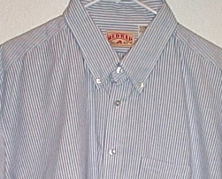 Mens NWOT Red Kap Blue White Stripe Short Sleeve Shirt Size 18 1/2