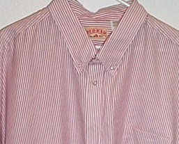 Mens Red Kap NWOT Red White Stripe Short Sleeve Shirt Size 16 1/2