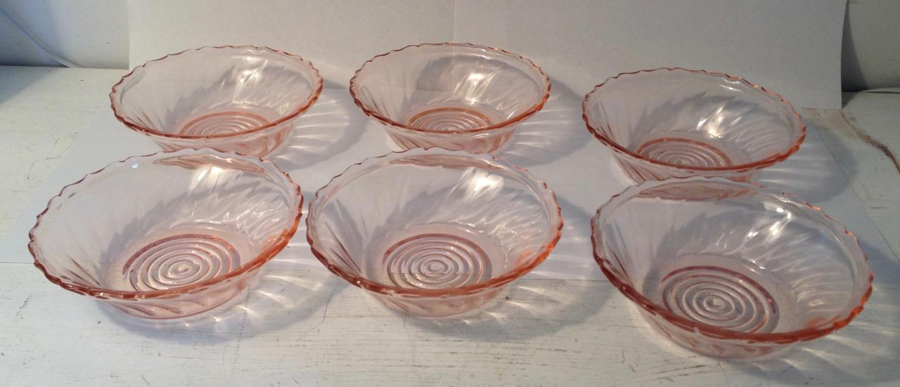 "6 Vintage Jeanette Swirl Pink Berry Bowls 5 1/4"" Depression Glass"