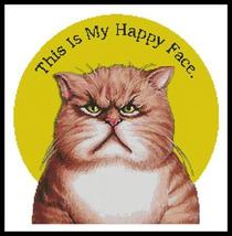 Happy Face cat cross stitch chart Artecy Cross Stitch Chart - $14.40