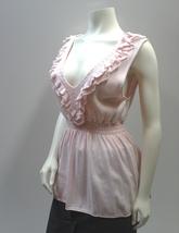 Pink Cotton Knit V Neck Ruffles Sleeveless Tank Top  - $12.99