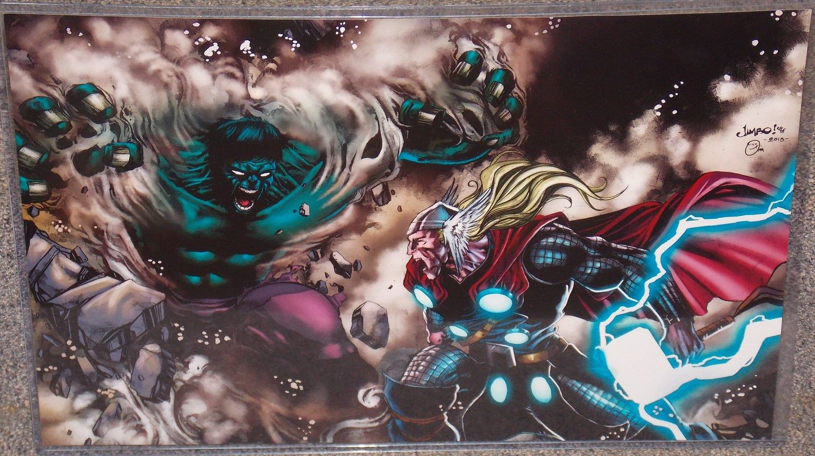 Primary image for Marvel Incredible Hulk vs Thor Glossy Print 11 x 17 In Hard Plastic Sleeve