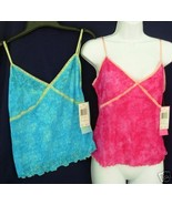 New Lot 2 sz M AUGUST MOON Camisole Lace Tank pink blue Medium - $24.00