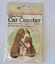 Springer Spaniel Absorbent Car Coaster Stoneware E&S Pets Dog Auto NEW - $10.88