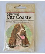Springer Spaniel Absorbent Car Coaster Stoneware E&S Pets Dog Auto NEW - $10.88