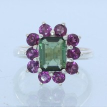 Green Tourmaline Red Purple Rhodolite Garnets Handmade Silver Ladies Ring size 7 - £73.70 GBP