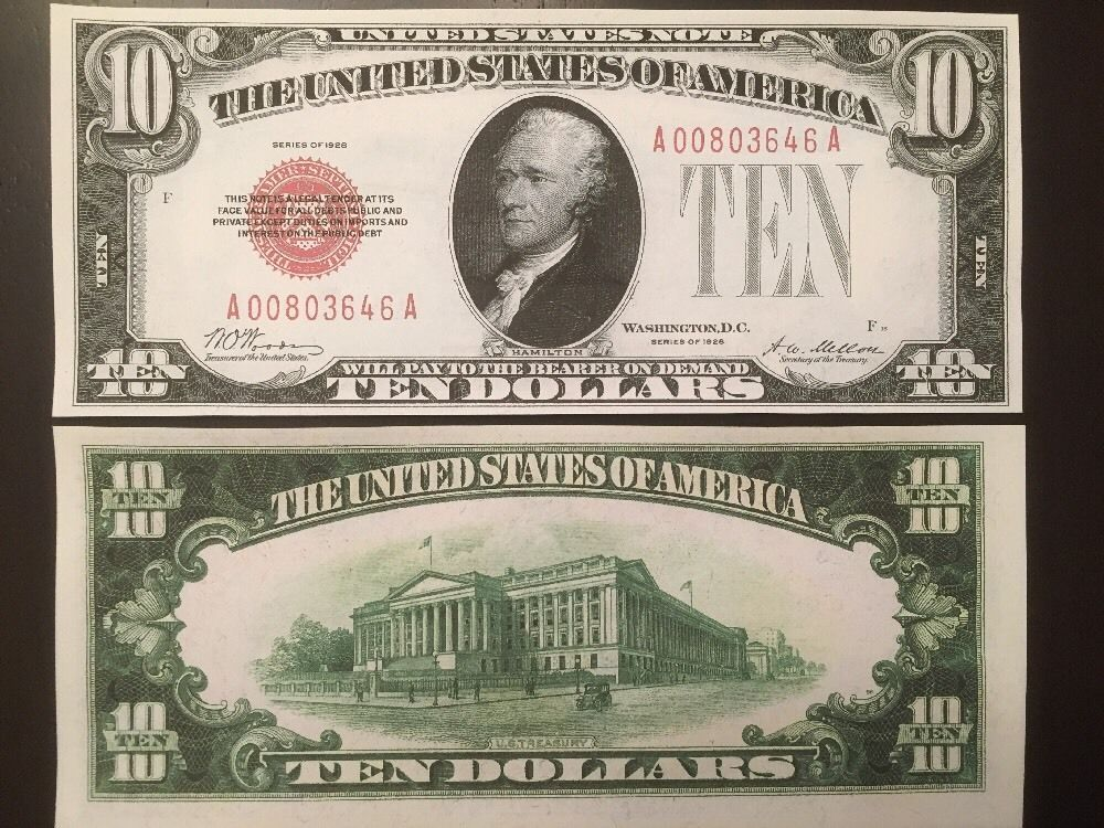 Fantasy Reproduction 1928 United States Note $10 Bill US Currency Hamilton