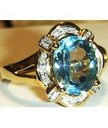 10K SOLID YELLOW GOLD BLUE TOPAZ OVAL & DIAMOND RING, SIZE 7, 2.97(TCW), 3.90GR - $185.00