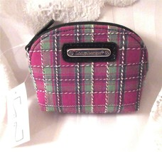 Longaberger HOLIDAY PLAID Coin Case Purse Zippered Top New With Tag - $13.00