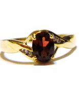 10K YELLOW GOLD BRAZILIAN RED GARNET OVAL & W DIAMOND RING, SIZE 7, 0.84... - $149.99