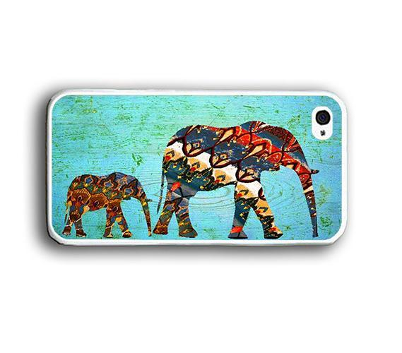 Aztec Pattern Elephant Mint Wood iPhone Case - Rubber Silicone iPhone 5 Case