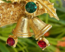 Vintage Christmas Holly Bells Rhinestone Brooch Pin Winter Holiday image 5