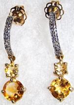"10K YELLOW GOLD CITRINE ROUND & DIAMOND DROP EARRINGS, 7/8""L,  0.97(TCW) - $89.99"
