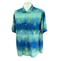 Tommy Bahama Men's Button Front Short Sleeve Silk Blue Green Camp Shirt ... - $25.59