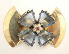 RETRO PIN - LARGE BLUE STONES - STERLING - $115.00