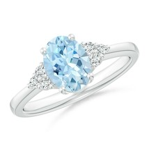 1.1ct Solitaire Oval Aquamarine and Diamond Promise Ring Gold/Platinum - $907.58+