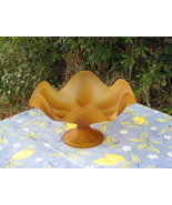 Viking Glass Epic 6 Petal Amber Satin Small Console Bowl or Compote/Comp... - $28.99