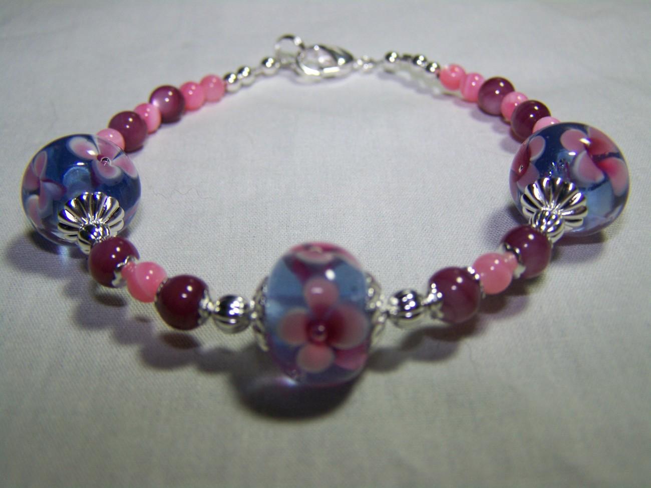 Tanzanite purple pink lampwork mop 8 inch silver bracelet