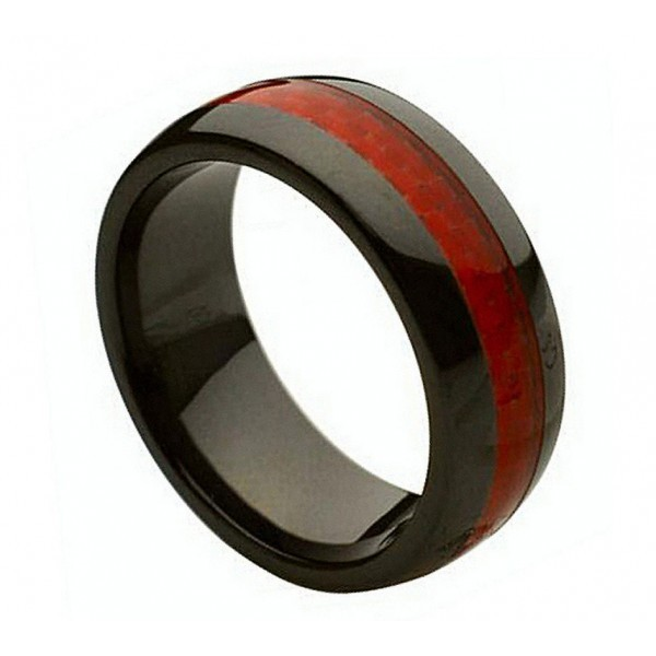 Primary image for CR234 Ceramic Ring with Red Carbon Fiber Inlay 8MM WIDE