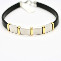 SILVER 925 BRACELET RHODIUM AND LAMINATE YELLOW GOLD WITH RUBBER 20 CM image 2
