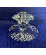 Central Glass Works candle holder Morgan Fairy on a swing etched crystal... - $39.59