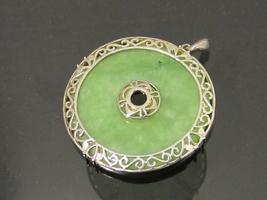 Vintage Sterling Silver Natural Jade Charm Pendant - $85.00