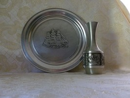 Wilton Large Pewter Plate Ship Pattern And Norway Vase With Viking Design - $35.00