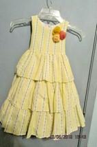 Laura Ashley Toddler Girl Size 4T YELLOW PINK ROSEBUD Floral RUFFLE Dress - $12.19
