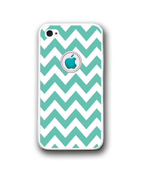 Mint White Chevron Apple Logo iPhone Case - Rubber Silicone iPhone 5 Case
